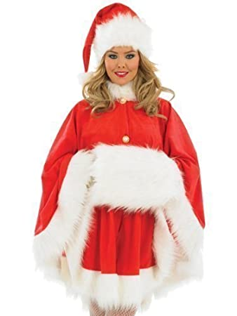 Ladies Sexy Mrs Christmas Santa Cape Muff Hat Fancy Dress Costume ...