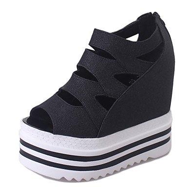 LvYuan Damen-Sandalen-Büro Kleid Lässig-PU-Keilabsatz-Club-Schuhe-Schwarz Rosa Silber Black
