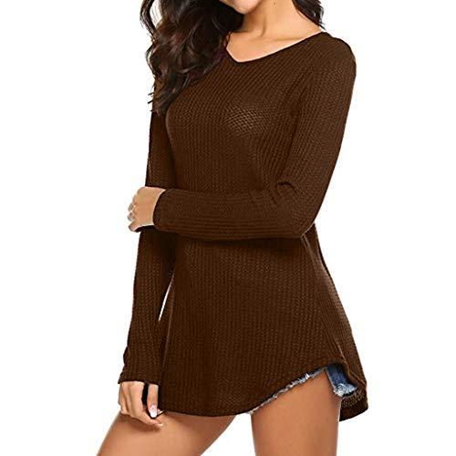 TIFIY Damen Bluse Einfarbig V-Ausschnitt Knopf Lange Shirt Frauen Elegant  Lange Pullover Oberteil ( cbbaac257d
