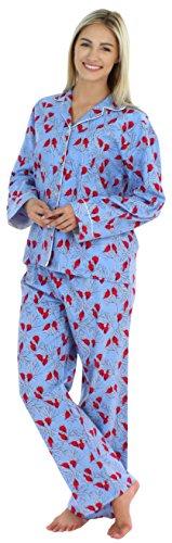 PajamaMania Flanell Pyjama für Damen, Schlafanzug, Kardinäle (PMF1002-2032-UK-LRG) (Ärmel Flanell Lange)