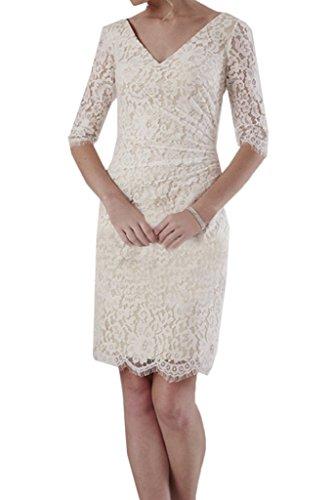 Ivydressing Damen Zaertlich Halb Aermel V-Ausschnitt Etui-Linie Spitze Partykleid Promkleid Festkleid Abendkleid Elfenbein