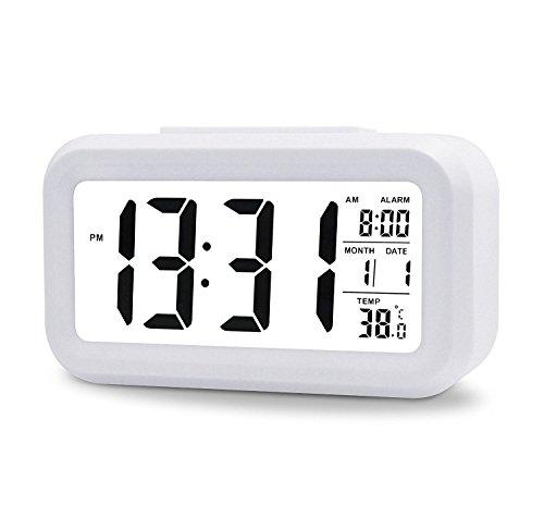 5,3' LED Digitaluhr Wecker Beleuchtung Digitalwecker Reisewecker mit Datum und Temperatur Anzeige, Schlummertaste, Sensorlicht und Nachtlicht - Schwarz(White)