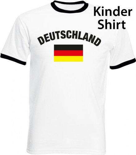 Shirtstreet24, EM/WM 6 – Deutschland mit Flagge, Fußball Kids Kinder Fan Ringer T-Shirt, Größe: 116/128,weiß/schwarz