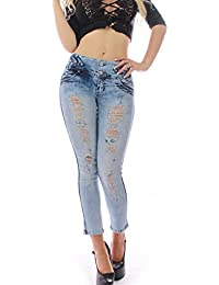 FARINA 1631Denim pantalones, Vaqueros de mujer, Push up/Levanta cola, pantalones vaqueros elasticos colombian,color azul,talla 34-48/XS-3XL