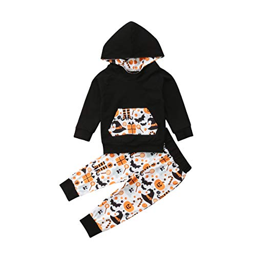 Jungen Hoodie-set (Shawnlen Kleinkind Baby Junge Halloween Outfits Set Langarm Hoodie Sweatshirt Floral Hose 2 Stück Baumwolle Kleidung Set für 0-24 Monate (9-18 M, schwarz))