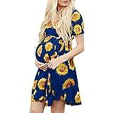 JKLEUTRW Sommer 2019 Damen Shirt Frauen Kurzarm Schwangere Mutterschaft Slim Frenulum Print Blumenkleid Kurzärmliges Sonnenblumenblumenkleid mit Riemen Strandkleid