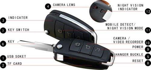 EPTEK @ 16 GB TF-Karte +HD 1080P Mini SPY Versteckte Kamera-Auto-Schlüssel Nanny Versteckte Kamera DVR Video Recorder Bewegungserkennung IR-Nachtsicht