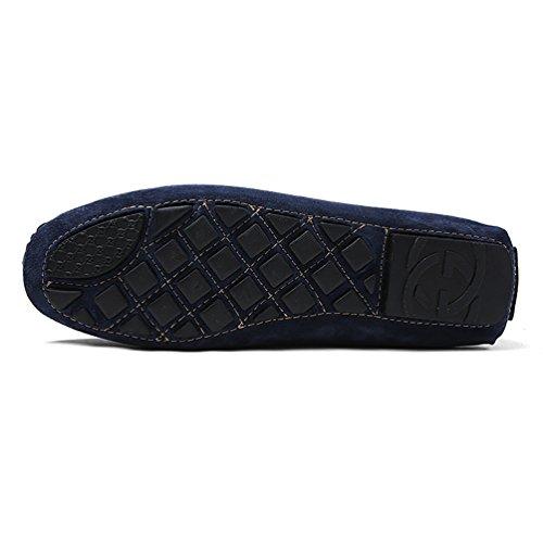 Baymate Homme Loisirs Loafers Plats Slip-on Chaussures de Conduite Chaussures Bateau Bleu