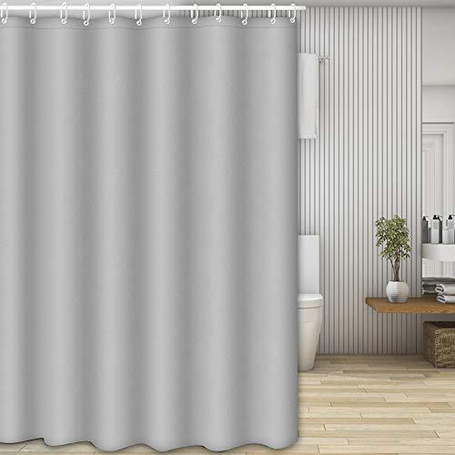 Nasharia Duschvorhänge, Waschbar Badvorhänge aus Polyester, Wasserdicht Anti-Schimmel, Anti-Bakteriell mit 12 Duschvorhangringe Design, 180 x 200cm, Grau -