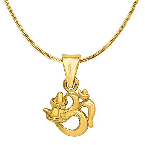 Diwali Gift - Mahi Exa Collection Om Shivalinga Gold Plated Religious God Pendant with Chain for Men & Women PS6012018G