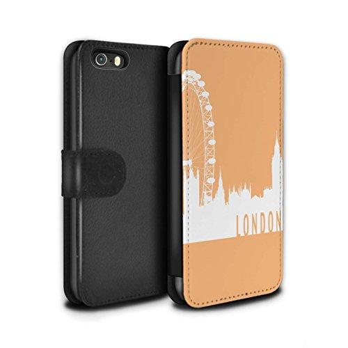 Stuff4 Coque/Etui/Housse Cuir PU Case/Cover pour Apple iPhone SE / Pack 5pcs Design / Toits de la Ville Collection Londres/Orange