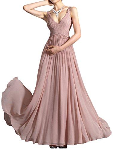 Prom Style Einfach Traeger Chiffon Abendkleider Ballkleider Brautjungfernkleider Promkleid Bodenlang Altrosa