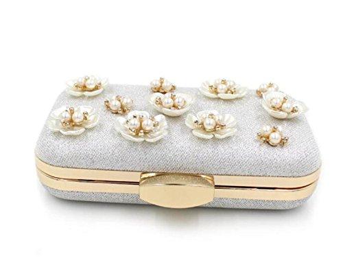 Strawberryer Nudité De Luxe En Perles De Diamants Sac De Soirée Haut De Gamme Creux Dames Banquet Mariée Sac à Main Embrayage Sac silver