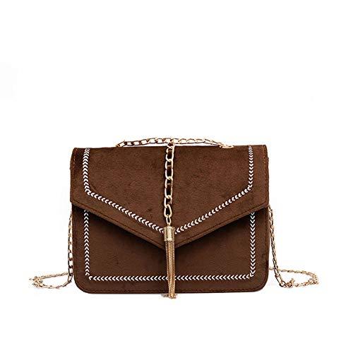 Mini Tasche Frauen Stickerei Linie Quaste Mode Trend Wilde Schultertasche Messenger Bag (braun) - Bordeaux-mini-anhänger