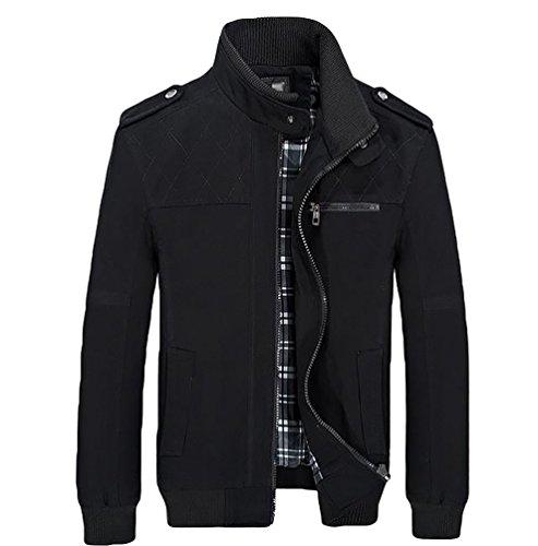 YOUJIA Homme Gentlemen Trench Coat Veste à Manches Longues Blouson Manteau Noir