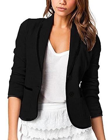 Femmes Vestes de Tailleur Blazer Bureau Business Costume Jacket Manche Longue Slim Noir 5XL