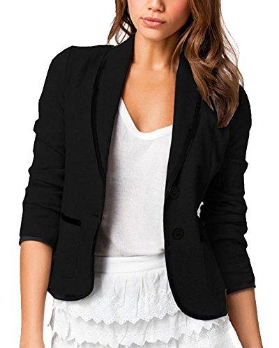Mujeres De Marca Americanas Elegante Fiesta Chica 2 Botones Casual Blazers la Pequeña Negro S