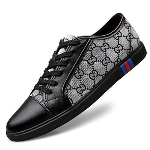YAN Herren Canvas Schuh Mode Leder Toe Cap Lace up Freizeitschuhe Espadrilles Low-Top Sneakers Trainingsschuhe (Farbe : B, Größe : 40) Toe Herren-schuhe