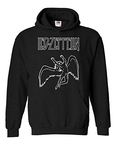 "Felpa Unisex ""Led Zeppelin - Angel"" - Felpa con cappuccio rock band LaMAGLIERIA, M, Nero"