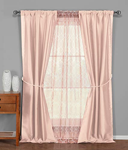 Printed Silk Top (Duck River Textile Worthington Grommet Top Printed Sheer with Faux Silk Window Curtain Drape for Living Room & Bedroom-Set of 5 Panels, 38 X 84 Inch, Pink)