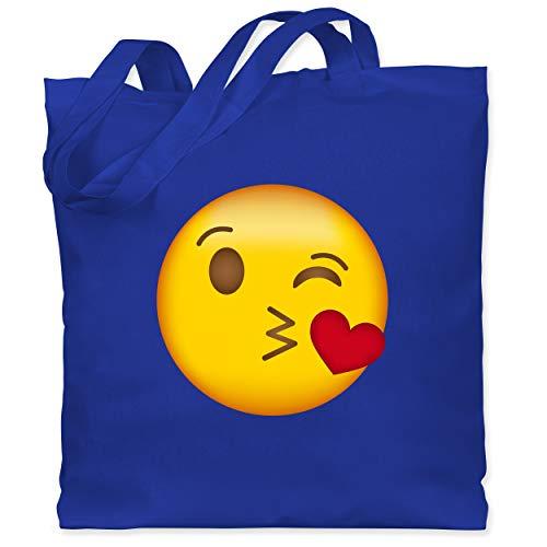 Kostüm Kiss Jahreszeiten - Comic Shirts - Emoji Kuss-Mund - Unisize - Royalblau - WM101 - Stoffbeutel aus Baumwolle Jutebeutel lange Henkel