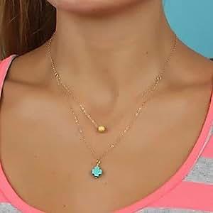 HJZ Style européen Double couches Turquoise Perles-Pendentif croix Doré