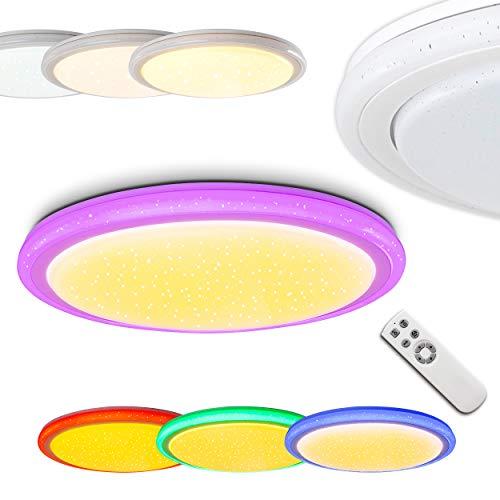 LED Deckenleuchte Bermeo mit Sterneneffekt, RGB Farbwechsler und Fernbedienung - Beleuchtung steuerbar zwischen 3000 und 64000 Kelvin - farbig leuchtende Umrandung Deckenspot mit farbigem Licht