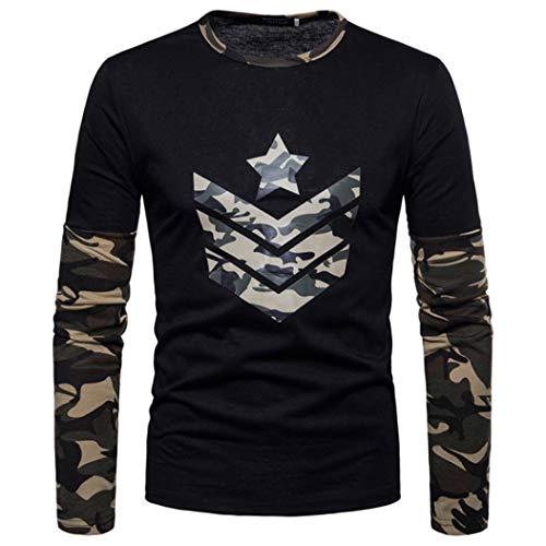 Paolian T-Shirt de Couture Occasionnel imprimé Camouflage à Manches Longues pour Hommes, Autocollants pour Hommes élégants et Confortables Automne et Hiver