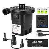 Elektrische Luftpumpe mit Akku, AGPtEK Elektropumpe mit Quickfill Aufblasen und Ablassen mit 3...
