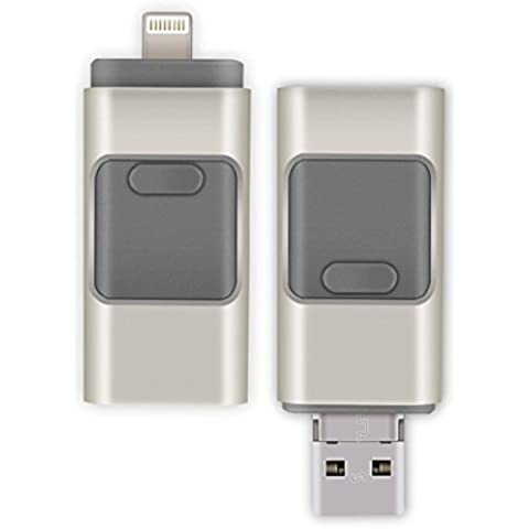3en 1OTG USB Flash Drive U disco Memory Stick Almacenamiento adaptador USB Flash Drive para iPhone Android teléfono celular ordenadores con 8GB 16GB 32GB 64GB gris gris 64