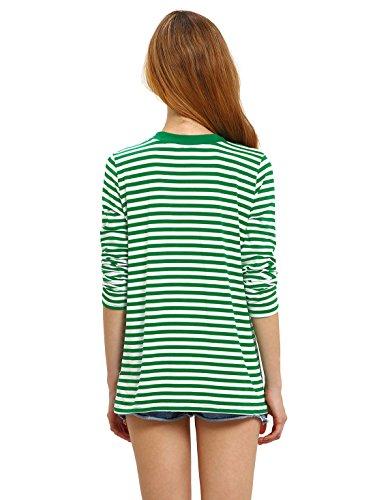 ROMWE Damen Ringel Langarmshirt Baumwoll Streifen Gestreift Hundhals Shirt Top Grün