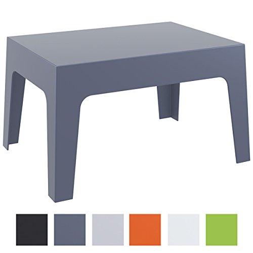 CLP Gartentisch Box aus Kunststoff I Stapelbarer Beistelltisch mit Einer Höhe von: 43 cm I Wetterfester Outdoor-Tisch I verfügbar Dunkelgrau