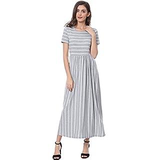 Allegra K Women's Summer Short Sleeves Contrast Mix Striped T-Shirt Maxi Dress Gray L