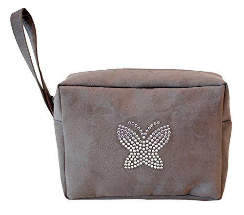 Borsa Donna, Pikla Beauty con manico in camoscio con logo in strass. Chiusura con cerniera. Fodera interna. Made in Italy. Taupe