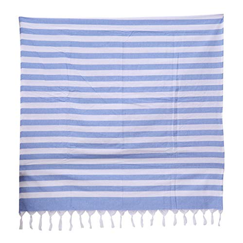 Vosarea Frauen Baumwolle Badetuch Quasten Streifen Badetuch Strand Strand Wrap Down Schal (Blau) -