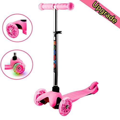 fiugsed 3 Räder Mini Kinder Kleinkinder Roller Scooter - Höhenverstellbarer 4-Stufen Tretroller Kinderscooter für Junge Mädchen - Kinderroller mit LED leuchten Räder (Pink)