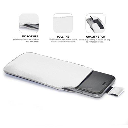 Aventus (Nero) Apple Iphone 6 / Iphone 6s Custodia Protettiva Pull Tab Cord in Finta Pelle per Cellulare Rimovibile con Cucita Banda Estraibile Bianco