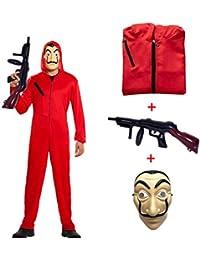 Costume Carnaval Déguisement La CASA De Papel avec Combinaison Voleur Rouge/Fusil/Salvador Dalí Masque/Carnaval Costume Carnaval Enfant Adulte Femme Homme Unisexe,ChildM115~135CM