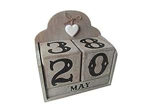 Bloc calendrier perpétuel en bois style chic