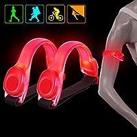 WenderGo 2 Pack LED Armband,LED Safety Flashing Lights High Visibility Elastic Arm Bands Sports LED Bracelet for Running Jogging Walking Bicycle Kids Dog Pet Runner