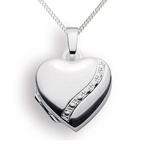 Medaillon 925 Silber Herz zum öffnen für Bildereinlage/ 2 Fotos Amulett von Haus der Herzen® (mit Kette) (Silber Medaillon Herz)