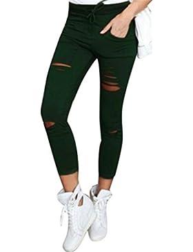 Pantalones Mujer,Pantalones rasgados flacos de mujer Pantalones lápiz delgado estiramiento cintura alta LMMVP