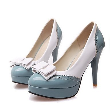 Moda Donna Sandali Sexy donna pull-on High-Heels PU Round bicromatica punta chiusa Pumps-Shoes Blue