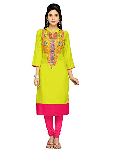 Varayu Women's Rayon Party Wear Green Stitched Kurti