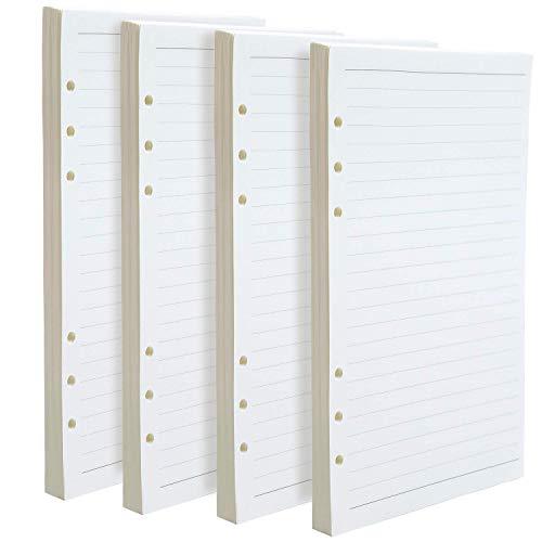 WENTS 4PCS A5 6-Ring Binder Planer Refill Papier Dot Grid Refills für Zeitschriften Notizbuch Tagebücher Einsätze, 21 x 14.2 cm - 6x6 Binder