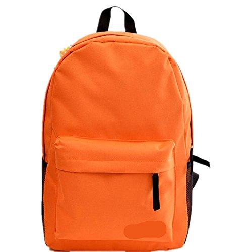Xiuxiandianju 20-35L Rucksack single Männer und Frauen Studenten in einem festen Farbe Reißverschluss Taschen Orange