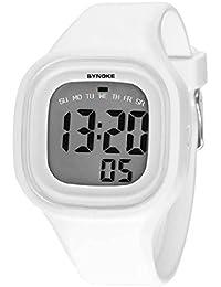 Malloom® 2015 moda natación reloj deportivo silicona digital LED impermeable unisexo reloj Blanco