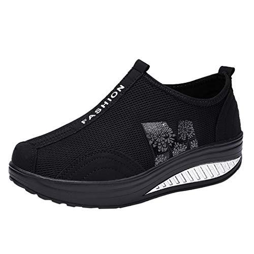 Sneaker Donna- Scarpe da Fitness Donna- Zarupeng Superficie Mesh Traspirante Scarpe Singole-Donna Scarpe Fitness Dimagranti Outdoor Sportive Anti Scivolo (Nero,40 EU)