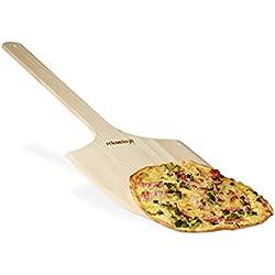 Relaxdays 10020497 Pelle à pizza en bois avec poignée HxlxP: 1 x 30 x 78 cm pour mettre au four, nature