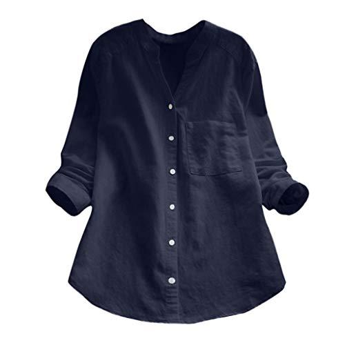 Berimaterry Damen Bluse Langarmshirt Leinen Hemd Tunika Oberteile V-Ausschnitt Button Down Freizeit Tops Langarm Knopf T-Shirt Long Sleeve -